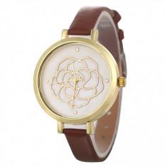 Ceas de dama casual Geneva CS1088, curea de piele, mode maro inchis