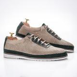 Pantofi casual barbati piele naturala kahki cu verde Turosi
