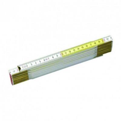 Metru de tamplarie din lemn vopsit in alb si galben STANLEY 2m foto