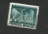 No(08)timbre-Romania  FONDUL AVIATIEI-perfin L.S.