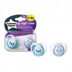 Suzete Ortodontice de Noapte 0-6 Luni 2 Bucati Cloned Bleu, Tommee Tippee