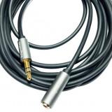 Cablu prelungitor Kruger & Matz jack 3.5 mm tata - jack mama, 1 m lungime, gri cu negru
