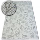 Covor sisal Flat 48774/367 Frunze Păsări crem gri, 140x200 cm, Dreptunghi