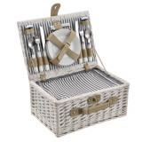 [casa.pro]® Cos picnic 4 persoane, 40 x 28 x 19 cm, rachita/poliuretan-imitatie piele/textil, alb HausGarden Leisure