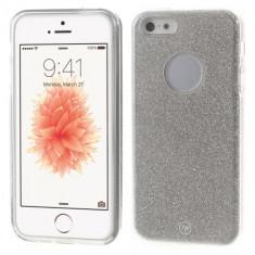 Husa iPhone 5 / 5s si SE - Gel TPU Cu Sclipici Argintiu