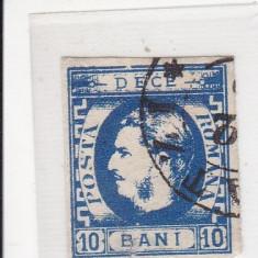 ROMANIA 1869 LP 26 CAROL I CU FAVORITI VAL. 10 BANI ALBASTRU POINCON L. PASCANU