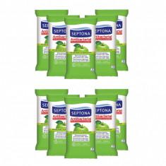 Set 10 Pachete Servetele Umede Antibacteriene Septona cu alcool 20%, aroma Mar, 15 Buc