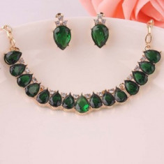 Set bijuterii fashion Oval Green Crystal