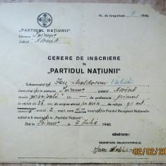 Carol al II-lea-Partidul Națiunii,Cerere de Inscriere din 7 iulie 1940.