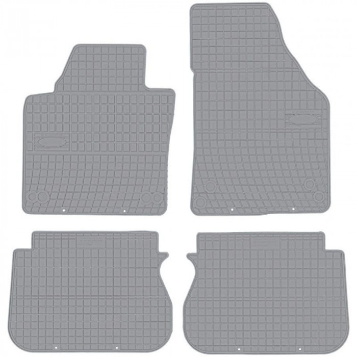 Set Covorase Auto Cauciuc Negro Volkswagen Caddy 3 5 Locuri 2004-2015 Gri GR0391
