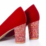 Pantofi Loresi rosii cu toc