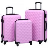 Set de valize cu carcasă rigidă 3 piese roz ABS