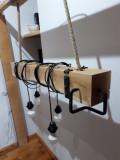 Lampă rustică lemn de stejar masiv