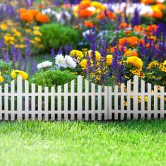 Bordura Gardulet Decorativ Plastic pentru Gazon sau Flori, Dimensiuni 60x23cm, Alb foto