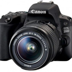Aparat Foto DSLR Canon EOS 200D, + EF-S 18-55mm DC, 24.2 MP, Full HD, Wi-Fi (Negru)