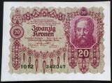 Bancnota ISTORICA 20 COROANE- AUSTRO-UNGARIA (AUSTRIA), anul 1922 *cod 478 AUNC