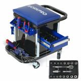 Scaun mobil cu compartiment pentru scule Workpro HGSW009039 136 piese