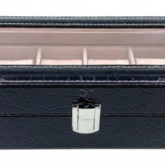 Cutie 6 ceasuri piele Black Croco Elegant