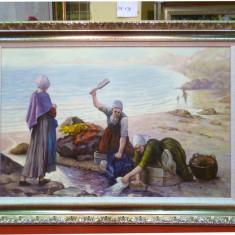 Tablou pictat manual pe panza in ulei Peisaj Vara A-433, Natura, Realism