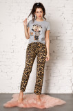 Pijama Minnie Mouse cu bluza gri si pantaloni cu animal print