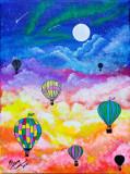 """Tablou pictat manual pictura acrilica """"Deasupra norilor"""", Peisaje, Acrilic, Realism"""