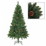 vidaXL Brad de Crăciun artificial cu conuri de pin, verde, 150 cm