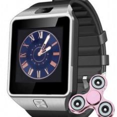 Smartwatch iUni DZ09 Plus, Camera 1.3MP, BT, 1.54 Inch, Argintiu + Spinner Cadou