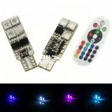 Bec pozitie RGB CU TELECOMANDA – T10, 6 LED SMD 5050 RGB 12V (pret/set)