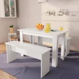 Masă și bănci de bucătărie, 3 piese, PAL, alb