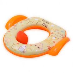 Reductor Moale cu Manere, Antialunecare pentru Toaleta Animals Orange