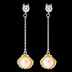 Cercei din Argint 925 cu Perle Naturale si Diamante, Eva Pink