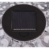 Glob solar metalic, perforatii efecte florale, suport fixare in pamant, diametru 18.5cm culoare argintiu