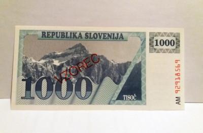Bancnota 1000 tolari slovenia 1990 Specimen  vzorec UNC tolarjev foto