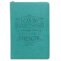 Teal Lux-Leather Journal with Zipper I Can Do