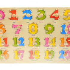 Tabla din lemn, jucarie cu cifre colorate, de la 1 la 20 - A3002