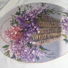Tablou vechi pictat COS CU FLORI,pictura veche ovala,de colectie,T.GRATUIT