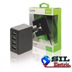Incarcator de la retea, 4x iesire USB 2.4 A negru, Sweex