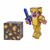 Figurina Minecraft Steve in Gold Armor Action Figure Seria 3