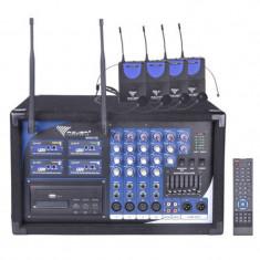 Cumpara ieftin Statie 4 lavaliere PA-180 UHF, 4 canale, receptor wireless incorporat