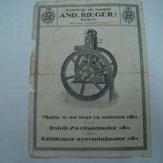 Reclama veche Motor in doi timpi cu motorina, Fabricile de masini, Sibiu