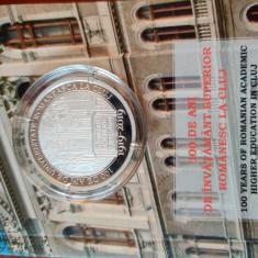Moneda proof 100 de ani de învățământ superior la Cluj