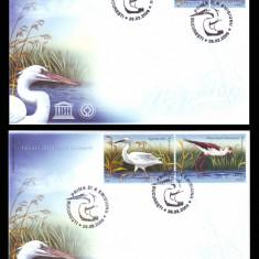 2009 Romania, 2 FDC Pasari din Delta Dunarii LP 1827, plicuri prima zi