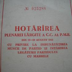 Hotararea plenarei CC al PMR din aug. 1953 pentru legatura cu masele, 1953