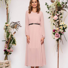 Rochie SunShine roz prafuit eleganta midi plisata cu croi larg din voal cu curea din imitatie de piele