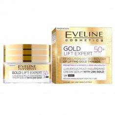 Crema luxurianta de intinerire Eveline Cosmetics Gold Lift Expert cu aur de 24K 50+ 50 ML