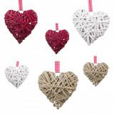 Set 6 buc, inimioare decorative din lemn, 10,5×9,5 cm, multicolor