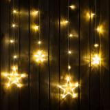 Instalatie de Craciun tip perdea - lumina alba si model cu stele, 2 x 1 m