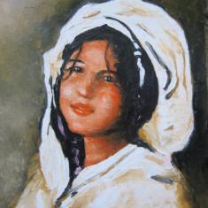 Pictura / Tablou portret de fata semnat Cimpoesu.