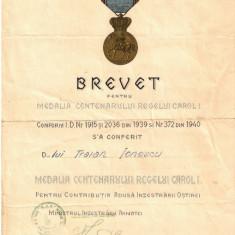 """BREVET PENTRU  """" MEDALIA CENTENARULUI REGELUI CAROL I"""""""