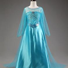 Rochie/rochita costum Elsa Frozen model 2019 cu trena lunga, 6-7 ani, 7-8 ani, Bleu